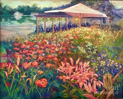 Poster featuring the painting Ogunquit Gardens At Waterside Restaurant by Gail Allen