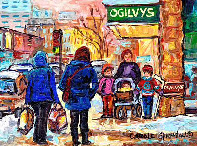 Ogilvy's Beautiful Sunny Winter Stroll Downtown Montreal City Scene Painting Carole Spandau          Poster