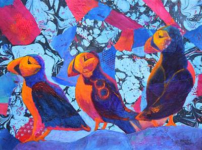 Oh Those Puffins Poster by Nancy Jolley
