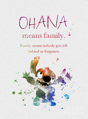 Ohana Means Family Poster by Rebecca Jenkins