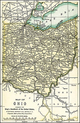 Ohio Antique Map 1891 Poster