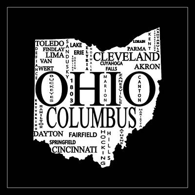Poster featuring the mixed media Ohio City Typography Map by Dan Sproul