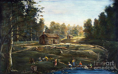 Ohio: Log Cabin & Farm Poster by Granger