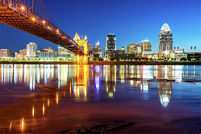 Ohio River Reflections Of The Downtown Cincinnati Skyline Poster