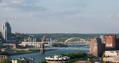 Ohio River's Suspension Bridge Poster