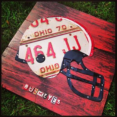 Ohio State #buckeyes #football Helmet - Poster by Design Turnpike
