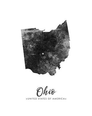 Ohio State Map Art - Grunge Silhouette Poster