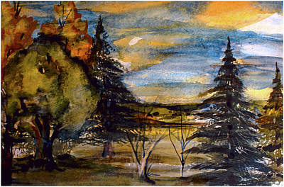 Poster featuring the painting Ohio Sunset by Mindy Newman