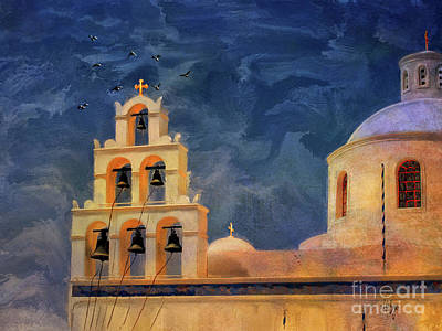 Oia Sunset Imagined Poster by Lois Bryan