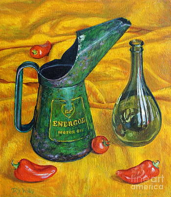 Oil Can With Red Poster by Tilly Willis