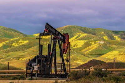 Poster featuring the photograph Oil Field And Temblor Hills by Marc Crumpler