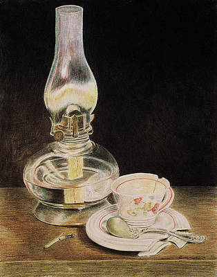 Oil Lamp And Tea Cup Poster by Timothy Theis