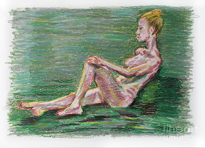 Oil Pastel Drawing Of Reclined Nude Female Over Green Background Poster