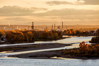 Oil Refinery At Sunset Poster by Todd Klassy