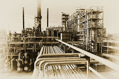 Oil Refinery In Old Vintage Processing Concept Poster