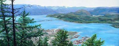 Poster featuring the painting Okanagan Blue by Bonnie Heather