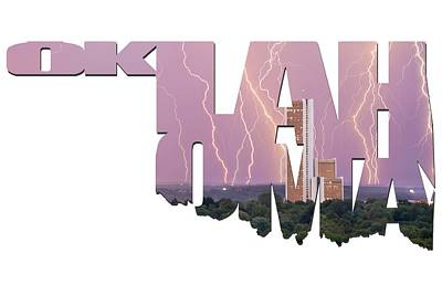 Oklahoma Letters Typographic - Electric Night - Cityplex Towers Poster by Gregory Ballos