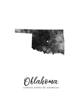 Oklahoma State Map Art - Grunge Silhouette Poster