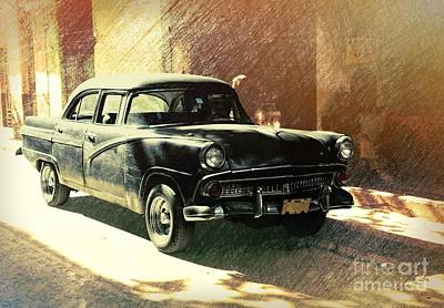 Old American Car Parked On The Street In Old Havana, Cuba Poster