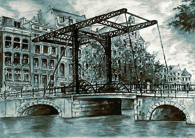 Old Amsterdam Bridge In Dutch Blue Water Colors Poster