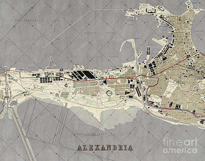 Old Antique City Map Alexandria Egypt Poster by ELITE IMAGE photography By Chad McDermott