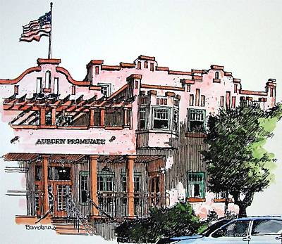 Poster featuring the painting Old Auburn Hotel by Terry Banderas