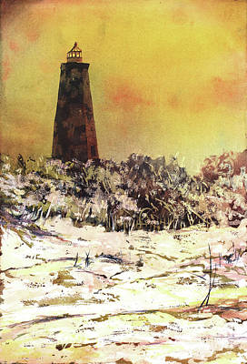 Poster featuring the painting Old Baldy Lighthouse- North Carolina by Ryan Fox