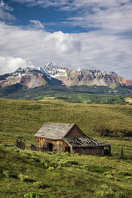 Old Barn And Wilson Peak Vertical Poster