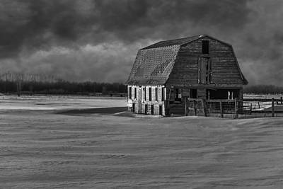 Old Barn At Sunset Black And White 2014-1 Poster