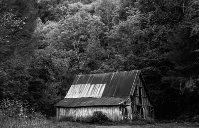 Old Barn In Monochrome Poster by Shelby Young
