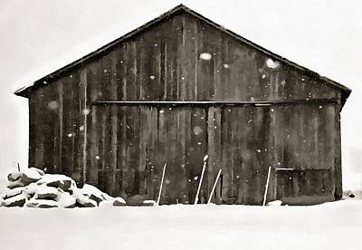 Old Barn In Winter Poster by Dan Sproul