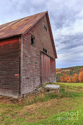 Old Barn Jericho Hill Vermont In Autumn Poster by Edward Fielding