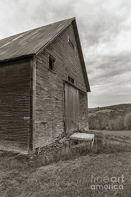 Old Barn Jericho Hill Vermont In Autumn Sepia Poster by Edward Fielding