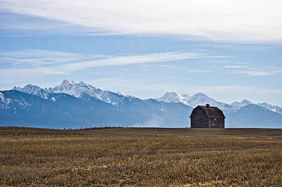 Old Barn, Mission Mountains Poster