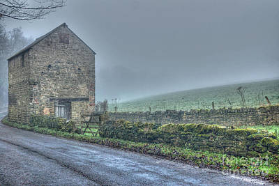 Old Barn On A Misty Day Poster