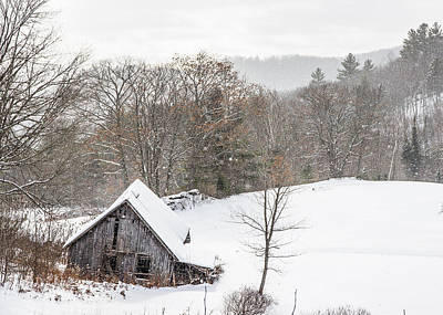 Old Barn On A Winter Day Wide View Poster by Tim Kirchoff