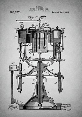 Old Beer Bottling Patent Poster