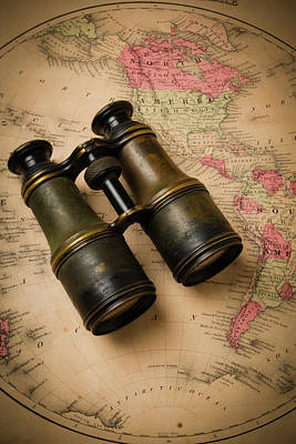 Old Binoculars On Antique Map Poster by Garry Gay