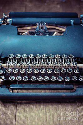 Poster featuring the photograph Old Blue Typewriter by Edward Fielding