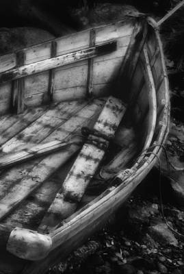Old Boat Stonington Maine Black And White Poster