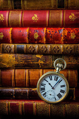 Old Books And Pocket Watch Poster by Garry Gay