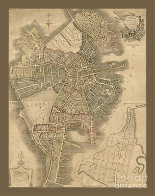 Old Boston Map Poster by Pd