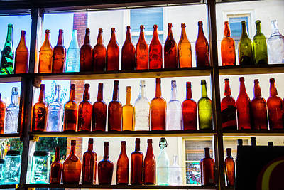 Old Bottles In Window Poster