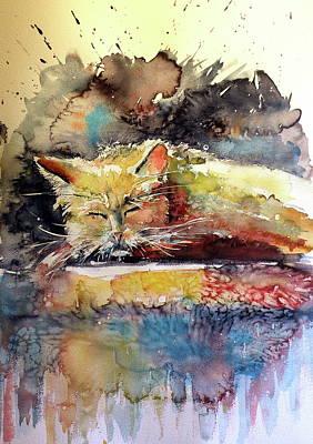 Old Cat Resting Poster by Kovacs Anna Brigitta