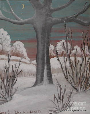 Old Cherry Tree In Winter Poster