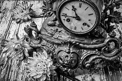 Old Clock And Dahlias Poster