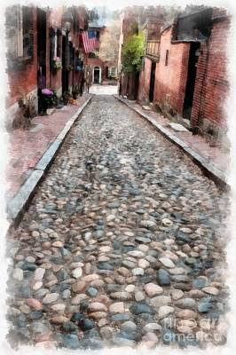 Old Cobblestone Streets Of Boston Poster