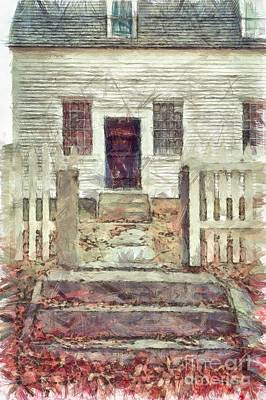 Old Colonial Home Shaker Village Pencil Poster by Edward Fielding