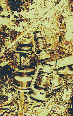 Old Colonial Oil Lanterns In Pile Poster