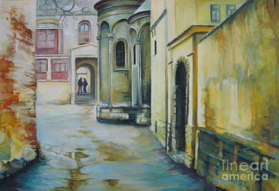 Poster featuring the painting Old Courtyard by Elena Oleniuc